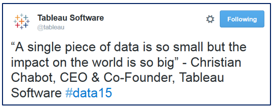 Quote from Christian Chabot's keynote, #data15